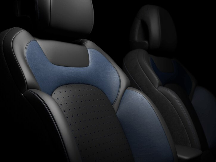 Отделка сидений кожа (темная+синяя)