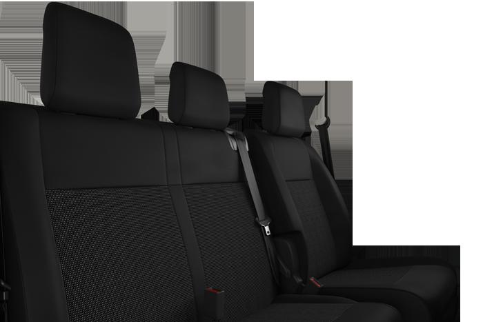 3 sjedala u prvom redu: vozačevo sjedalo podesivo po visini sa naslonom za ruke, klupa za 2 suvozača sa pretincem ispod sjedala